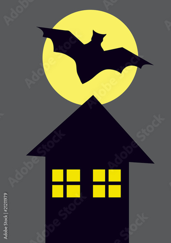 silhouette of flying bat and a house at night