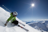 Skier with sun and mountains - 21212161