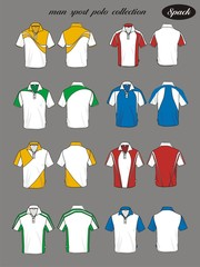 man sport polo shirt vector set