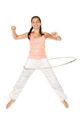 teenager girl with hula hoop