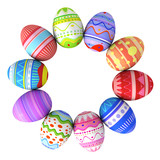 Colorful easter eggs circle