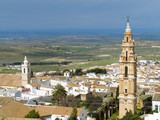 Aerial view of Estepa, Andalucia with the tower of Victory