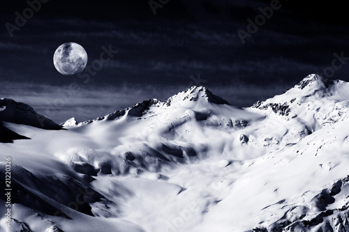 Elbrus Mount with moon