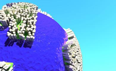 Imagen conceptual de sobre construcción y población mundial