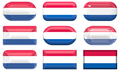 nine glass buttons of the Flag of Netherlands
