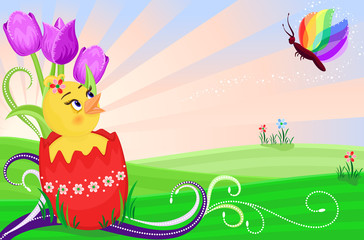 Easter card with cute chick and tulips - vector