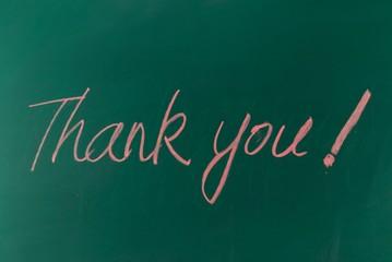 "Red chalk handwriting ""thank you"""