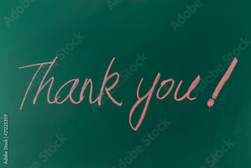 "Red chalk handwriting ""thank you"""
