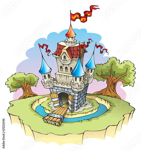 Foto op Canvas Kasteel Cartoon fantasy castle, surrounded by water moat, vector