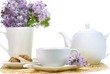 cup of teaset and flowers
