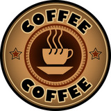 Fototapety Vector coffee label with coffee cup