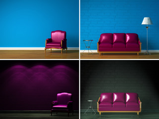 Set of images of beautiful simple interiors