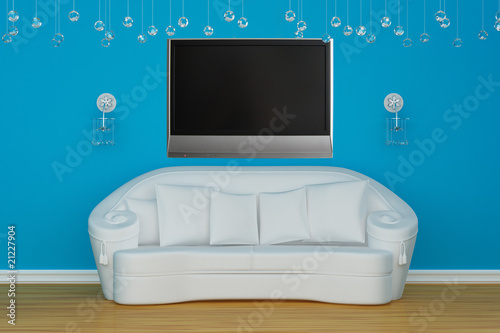 Sofa with sconces and LCD tv