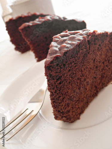Chocolate Cake Slices at Breakfast.