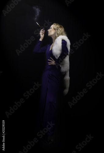 Poster retro style shot - lady smoke cigarette