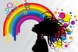 woman and rainbow