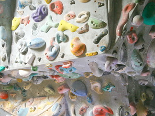 climbing attachements on artificial wall
