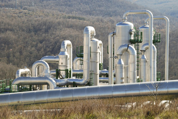 Pipes in a geothermal power plant in Larderello (Italy)