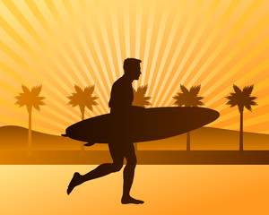surfer running on the beach vector silhouette