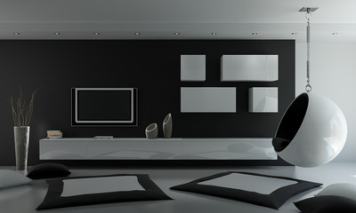 interno 3d black&white