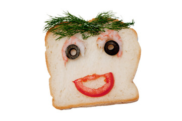 funny sandwich with dill hair on white