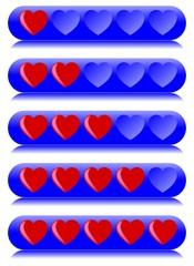 Blue, five hearts review bars for rating
