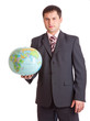 Businessman with globe. Isolated on white background