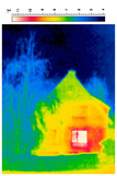 thermal imaging of a detached house and tree poster