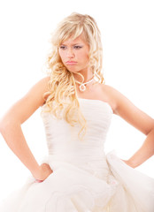 Angry bride in expectation of groom