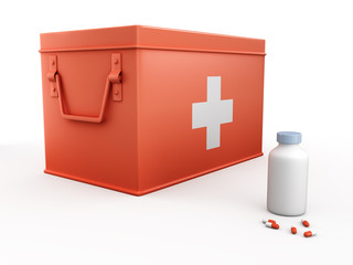 red first aid kit and bottle of pills