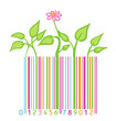 flower and leaves stylized as barcode