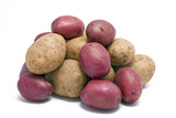 Stack of Regular and Red Skinned Potatoes poster