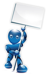 Robot bleu agitant une pancarte