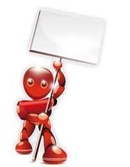 Robot rouge montrant une pancarte