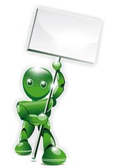 Robot bio agitant une pancarte