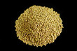 Golden gram against black background