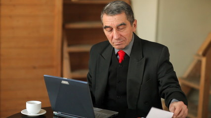 Senior businessman working on laptop computer indoors