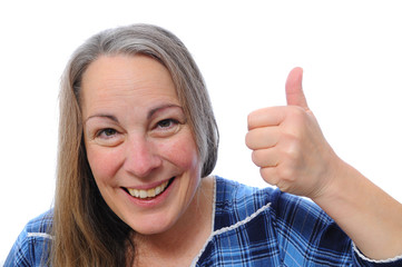 Middle aged woman with thumbs up