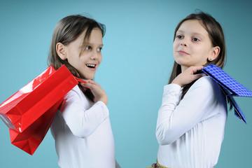 twin girls shopping