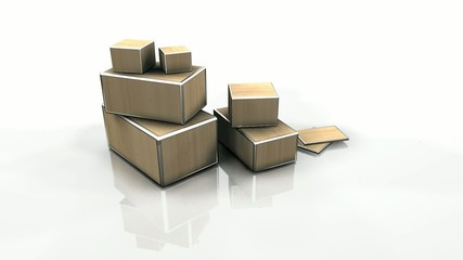 3D boxes crates stack shipping delivery video loop