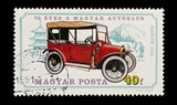 Hungarian mail stamp featuring a vintage Arrow motor car poster