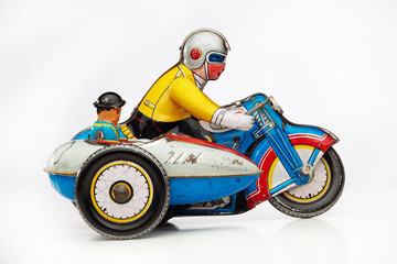 retro toy motorbike racer with sidecar