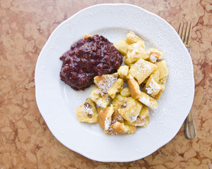Typical austrian dessert called Kaiserschmarrn