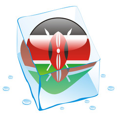 vector of kenya button flag frozen in ice cube