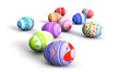canvas print picture - Colorful easter eggs all over the place