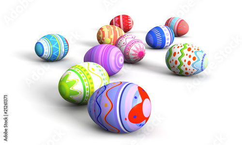 Colorful easter eggs all over the place