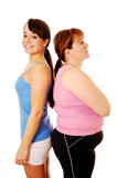 Happy slim woman and unhappy overweight woman back to back poster