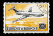 stamp printed in Burundi featuring a Boeing 727 jet airliner