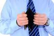 Broke businessman with empty wallet
