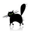 Big black cat silhouette on white